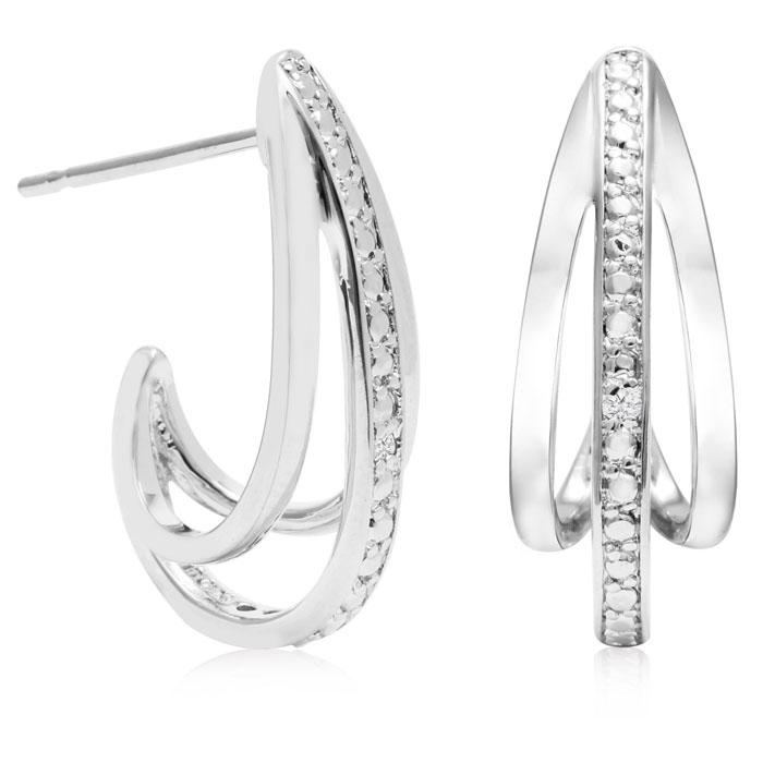 Diamond Accent J Hoop Earrings, 3/4 Inch, J/K by SuperJeweler