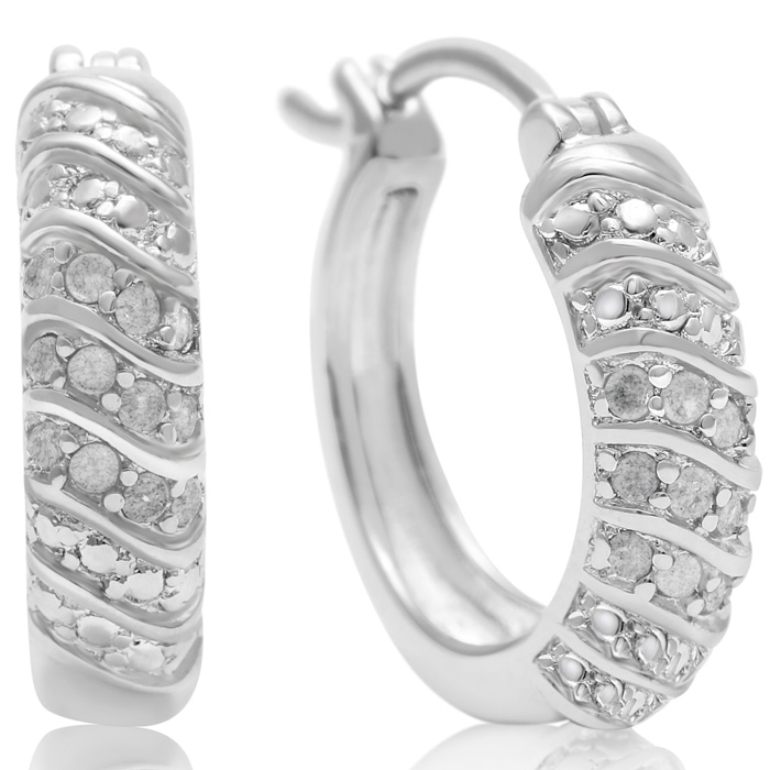 1/4 Carat 4-Row Diamond Hoop Earrings, 1/2 Inch, J/K by SuperJewe