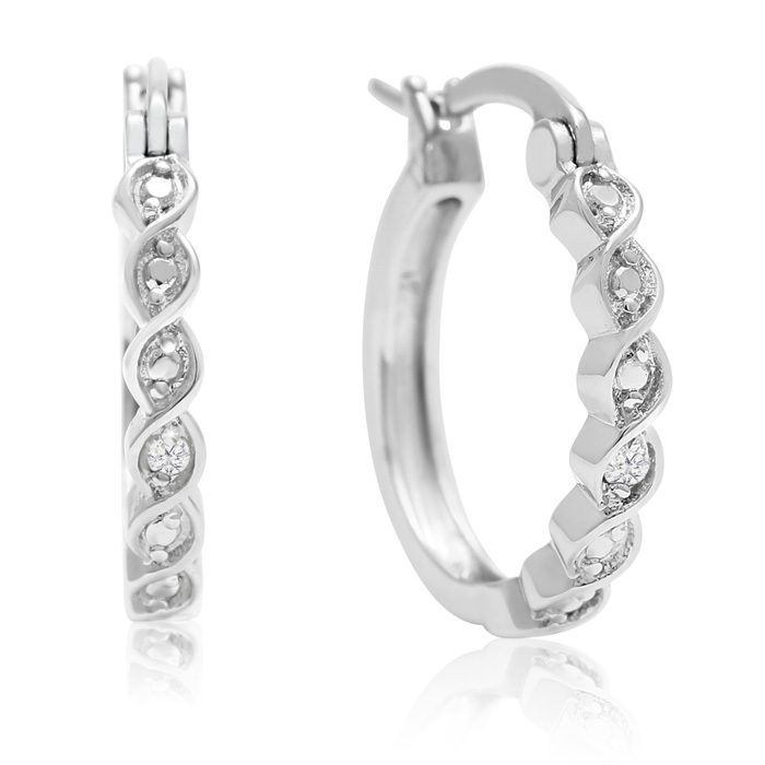 Diamond Twist Hoop Earrings, 1/2 Inch, J/K by SuperJeweler