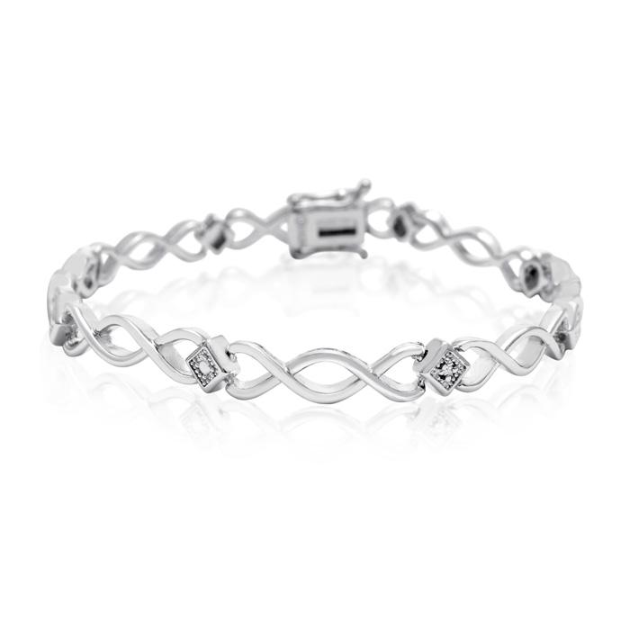 Dainty Diamond Accent Bracelet, Platinum Overlay, 7