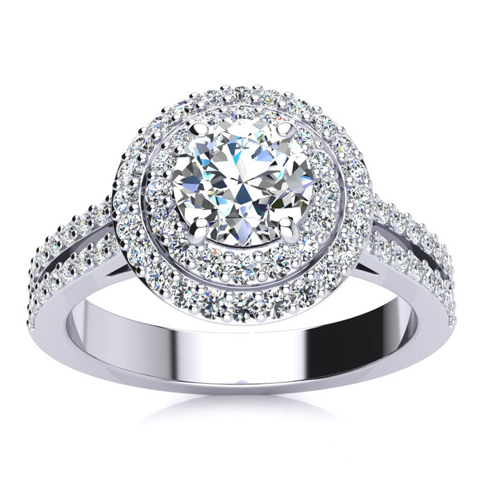 Image of 1.50 Carat Halo Engagement Ring With A 3/4 Carat Round Brilliant Center Diamond In 14K White Gold