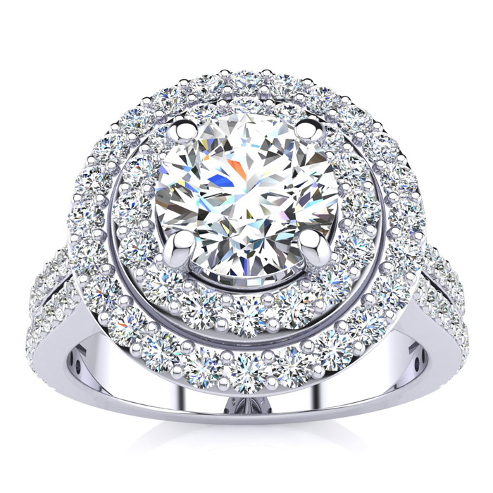 2 Carat Double Halo Round Diamond Engagement Ring in 14K White Go