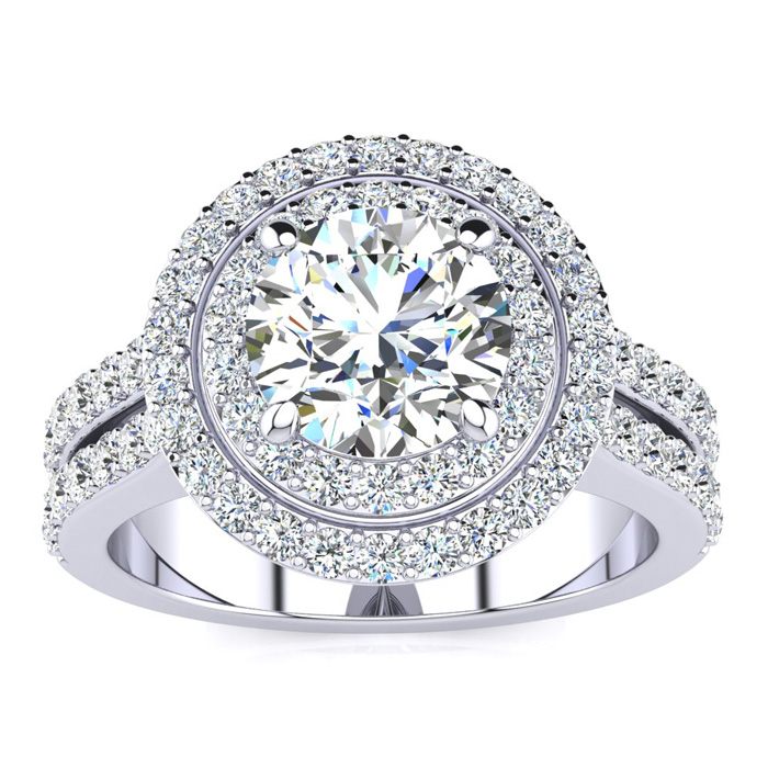 2.5 Carat Double Halo Round Diamond Engagement Ring in 14K White Gold (8.5 g) (