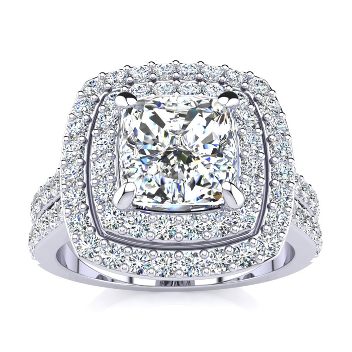 2.5 Carat Double Halo Diamond Engagement Ring in 14k White Gold (