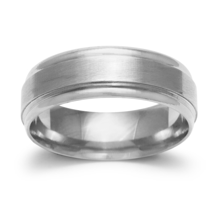 6.5mm Mens & Ladies Brush Center Finished Wedding Band in 14K Whi