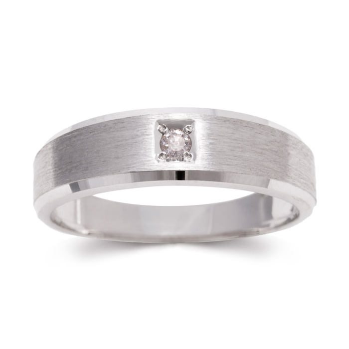 6mm Mens Diamond Wedding Band in White Gold (4 g), G/H by SuperJe