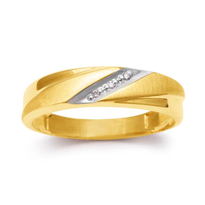 5.7mm Three Diamond Mens Satin Finished Wedding Band in Yellow Go