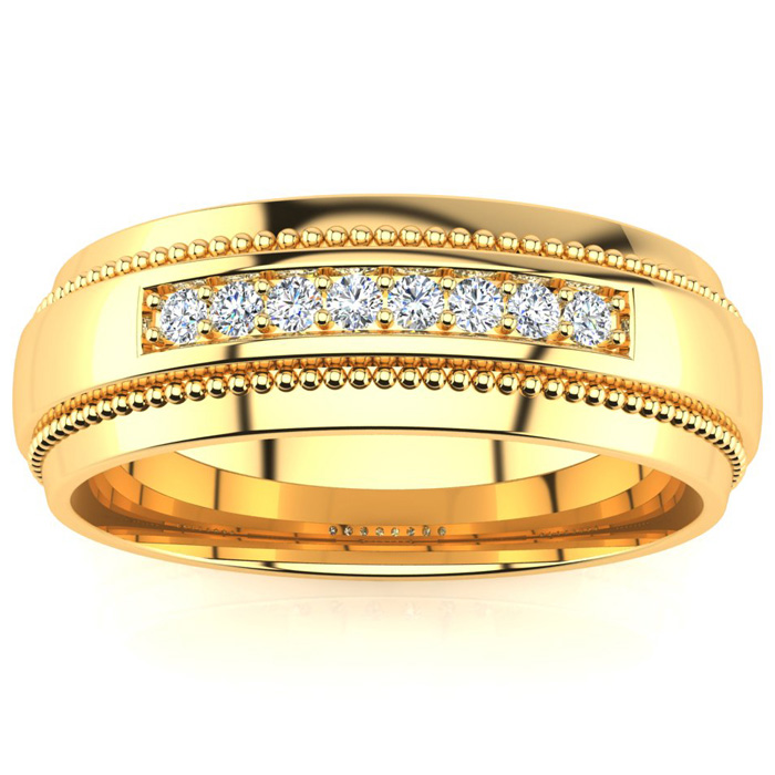 7mm Diamond Mens Satin Finished Milgrain Wedding Band in Yellow G
