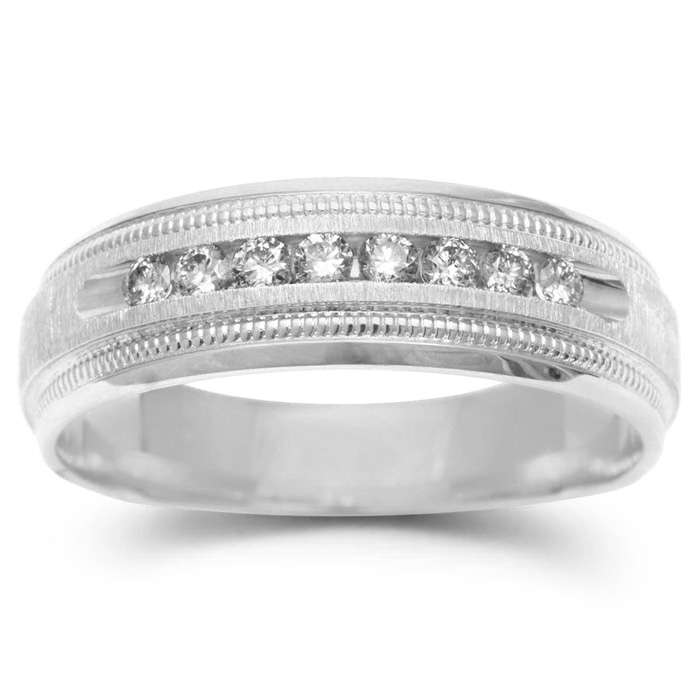 7mm .25 Carat Diamond Mens Satin Finished Milgrain Wedding Band in White Gold (2.9 g), G/H by SuperJeweler