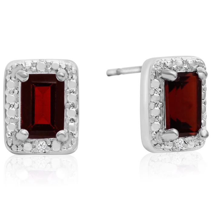 1.5 Carat Garnet & Halo Diamond Earrings, J/K by SuperJeweler