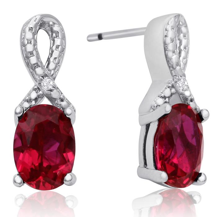 1.5 Carat Ruby & Diamond Ribbon Stud Earrings, J/K by SuperJewele