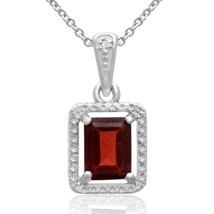 1 3/4 Carat Garnet & Halo Diamond Necklace, 18 Inches, J/K by Sup