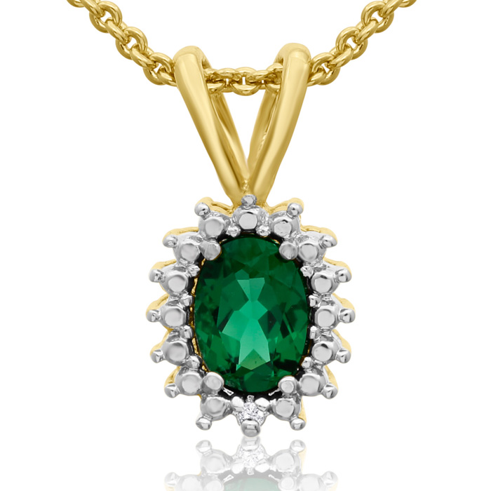 3/4ct Created Emerald and Diamond Halo Necklace