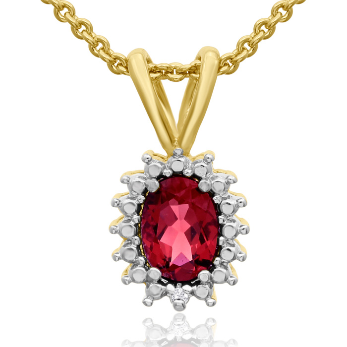 3/4 Carat Oval Shape Ruby & Halo Diamond Necklace in Gold Overlay