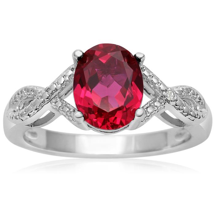 2.5 Carat Oval Shape Ruby & Diamond Infinity Ring, J/K by SuperJe