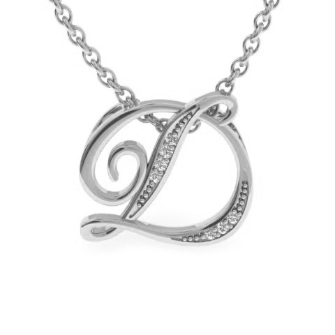 D Initial Necklace in White Gold (2.2 g) w/ 7 Diamonds, I/J, 18 I