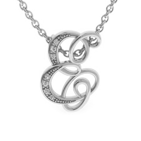 E Initial Necklace in White Gold (2.2 g) w/ 7 Diamonds, I/J, 18 I
