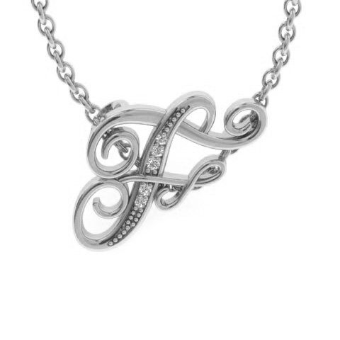 F Initial Necklace in White Gold (2.2 g) w/ 5 Diamonds, I/J, 18 Inch Chain by SuperJeweler