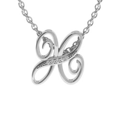 H Initial Necklace in White Gold (2.2 g) w/ 5 Diamonds, I/J, 18 I