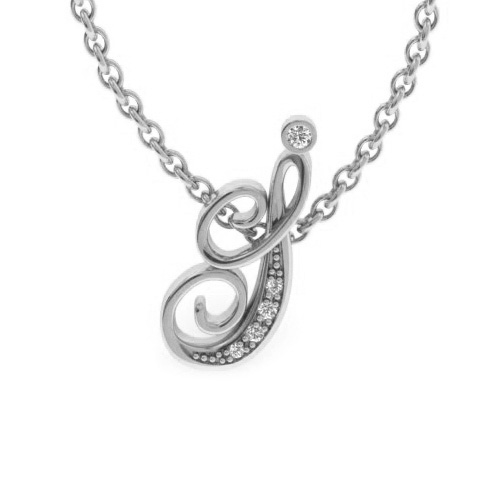 I Initial Necklace in White Gold (2.2 g) w/ 5 Diamonds, I/J, 18 Inch Chain by SuperJeweler