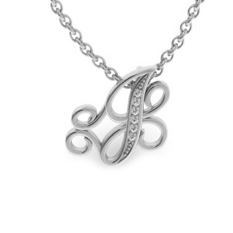 J Initial Necklace in White Gold (2.2 g) w/ 6 Diamonds, I/J, 18 I