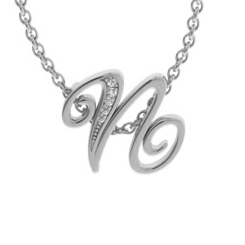 N Initial Necklace in White Gold (2.2 g) w/ 5 Diamonds, I/J, 18 I
