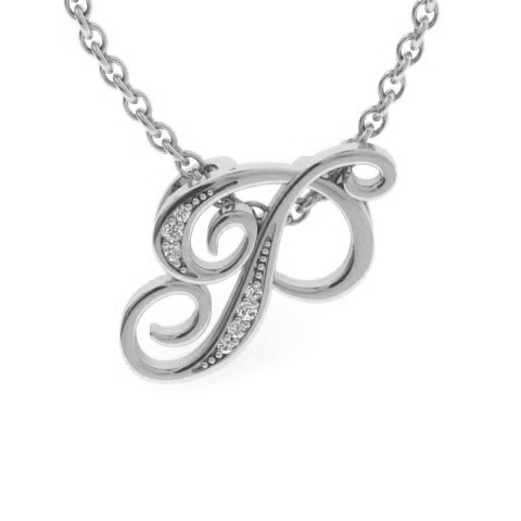 P Initial Necklace in White Gold (2.2 g) w/ 7 Diamonds, I/J, 18 I
