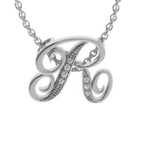 R Initial Necklace in White Gold (2.2 g) w/ 7 Diamonds, I/J, 18 Inch Chain by SuperJeweler