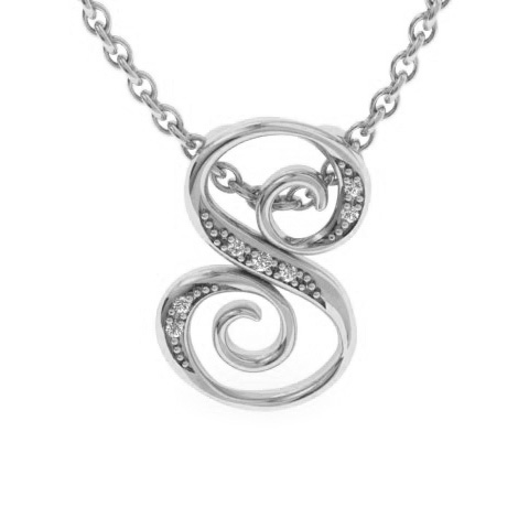 S Initial Necklace in White Gold (2.2 g) w/ 7 Diamonds, I/J, 18 Inch Chain by SuperJeweler