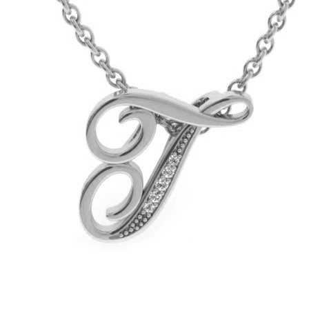 T Initial Necklace in White Gold (2.2 g) w/ 5 Diamonds, I/J, 18 Inch Chain by SuperJeweler