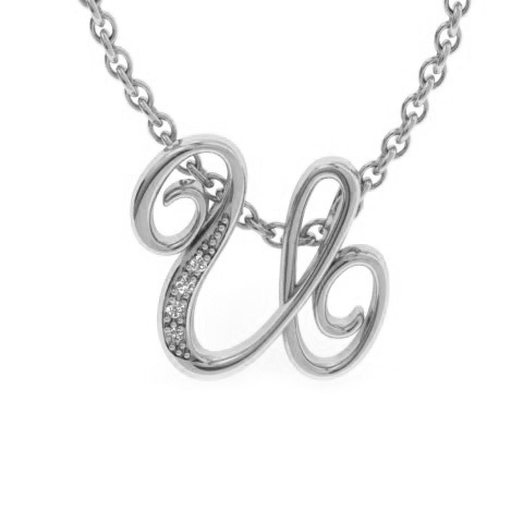 U Initial Necklace in White Gold (2.2 g) w/ 4 Diamonds, I/J, 18 I