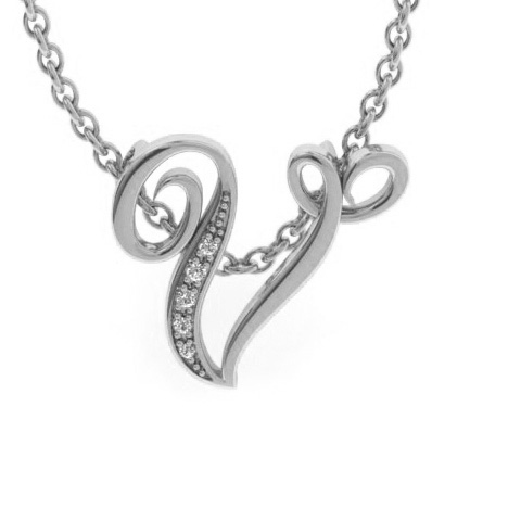 V Initial Necklace in White Gold (2.2 g) w/ 5 Diamonds, I/J, 18 I