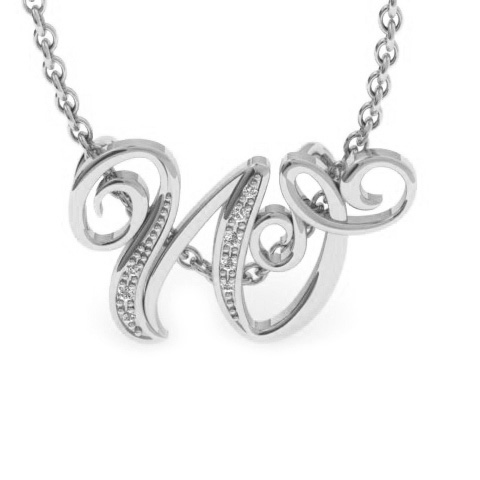 White Gold Serif W Initial Necklace With