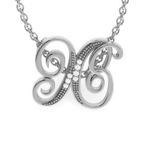 X Initial Necklace in White Gold (2.2 g) w/ 7 Diamonds, I/J, 18 I