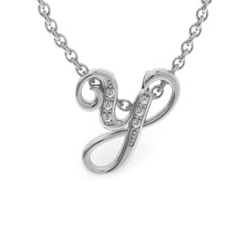 Y Initial Necklace in White Gold (2.2 g) w/ 6 Diamonds, I/J, 18 Inch Chain by SuperJeweler