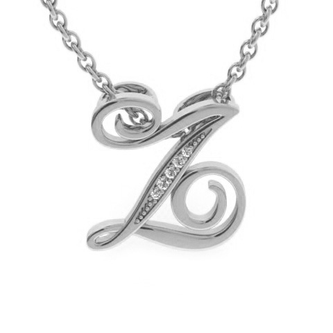 Z Initial Necklace in White Gold (2.2 g) w/ 5 Diamonds, I/J, 18 I
