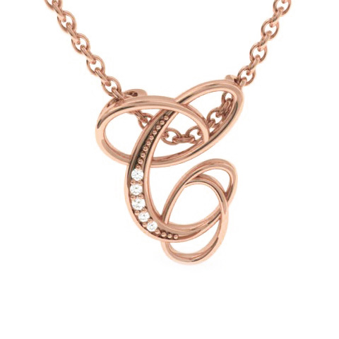 Rose Gold Serif C Initial Necklace With