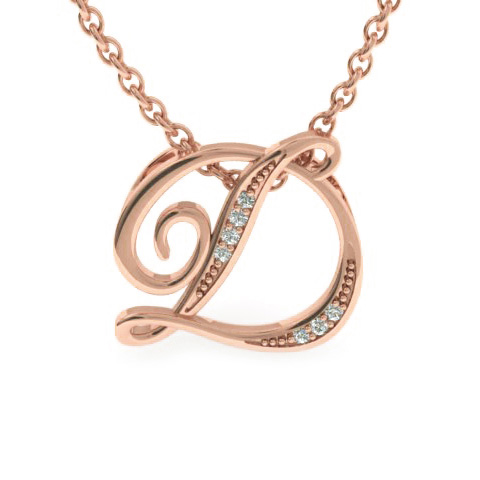 D Initial Necklace in Rose Gold (2.2 g) w/ 7 Diamonds, I/J, 18 Inch Chain by SuperJeweler
