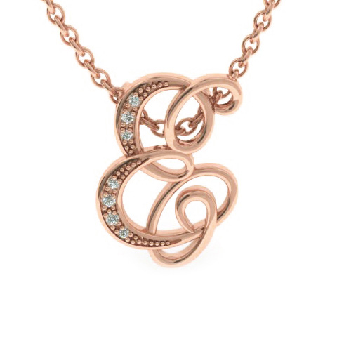 E Initial Necklace in Rose Gold (2.2 g) w/ 7 Diamonds, I/J, 18 In