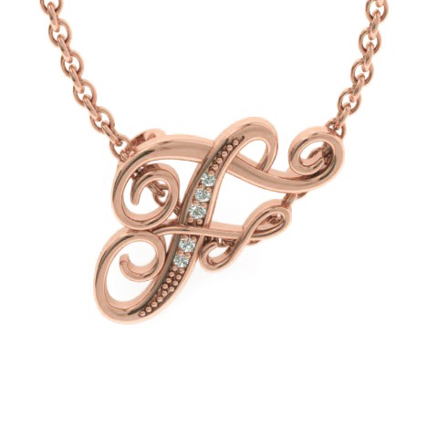F Initial Necklace in Rose Gold (2.2 g) w/ 5 Diamonds, I/J, 18 In