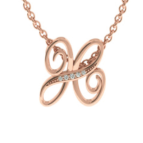 H Initial Necklace in Rose Gold (2.2 g) w/ 5 Diamonds, I/J, 18 In