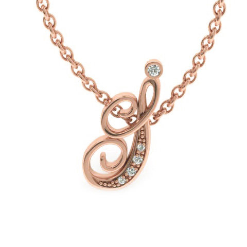 I Initial Necklace in Rose Gold (2.2 g) w/ 5 Diamonds, I/J, 18 In