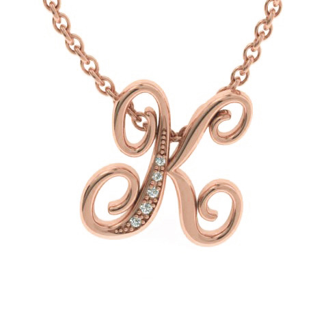 K Initial Necklace in Rose Gold (2.2 g) w/ 5 Diamonds, I/J, 18 In