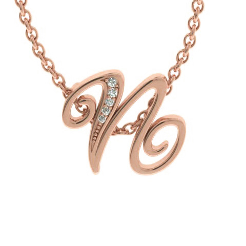 N Initial Necklace in Rose Gold (2.2 g) w/ 5 Diamonds, I/J, 18 In
