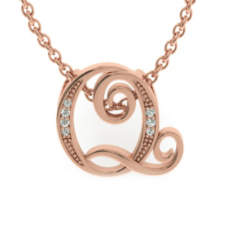 Q Initial Necklace in Rose Gold (2.2 g) w/ 7 Diamonds, I/J, 18 In