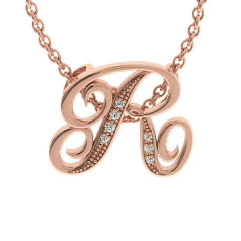 R Initial Necklace in Rose Gold (2.2 g) w/ 7 Diamonds, I/J, 18 In