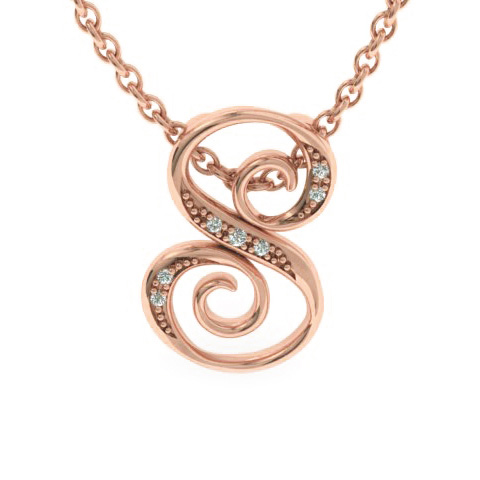 S Initial Necklace in Rose Gold (2.2 g) w/ 7 Diamonds, I/J, 18 In