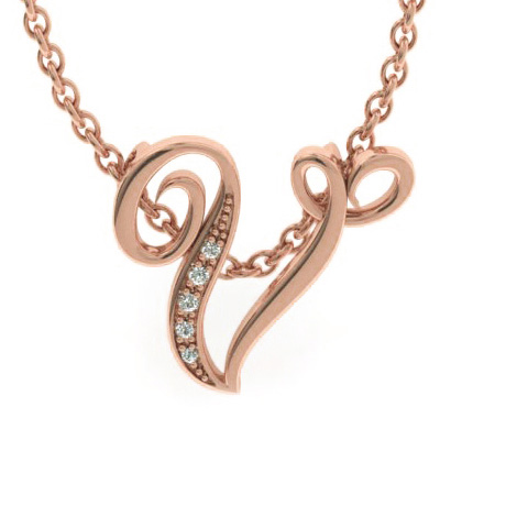 V Initial Necklace in Rose Gold (2.2 g) w/ 5 Diamonds, I/J, 18 Inch Chain by SuperJeweler