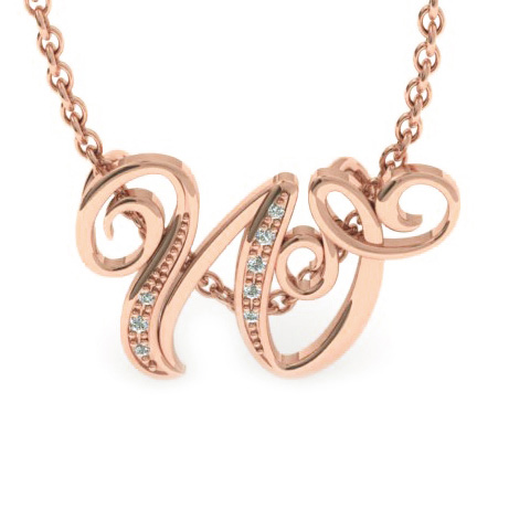 W Initial Necklace in Rose Gold (2.2 g) w/ 7 Diamonds, I/J, 18 In