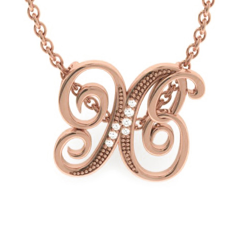 X Initial Necklace in Rose Gold (2.2 g) w/ 7 Diamonds, I/J, 18 Inch Chain by SuperJeweler